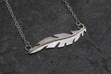 Load image into Gallery viewer, Floating Feather Silver Necklace - Lucy Symons Jewellery