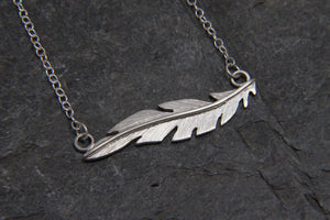 Floating Feather Silver Necklace - Lucy Symons Jewellery