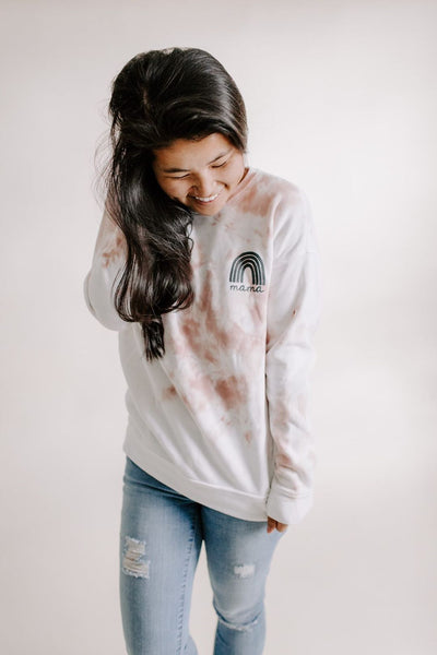 (Already Dyed) Tie Dye Rainbow Mama Sweatshirt