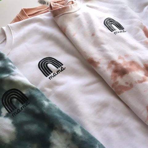 Custom Tie Dye/White Rainbow Mama Sweatshirt