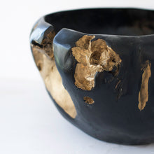 Load image into Gallery viewer, Black & Gold Wooden Bowl