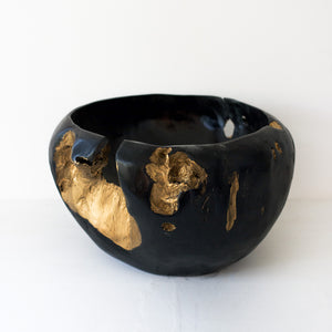 Black & Gold Wooden Bowl