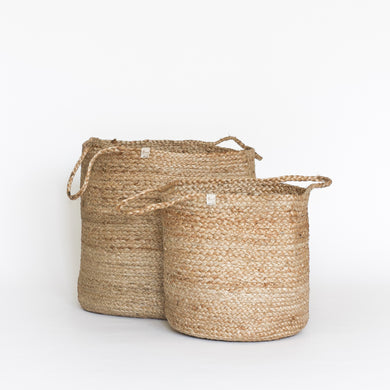 Natural Plain Jute Basket with Handles