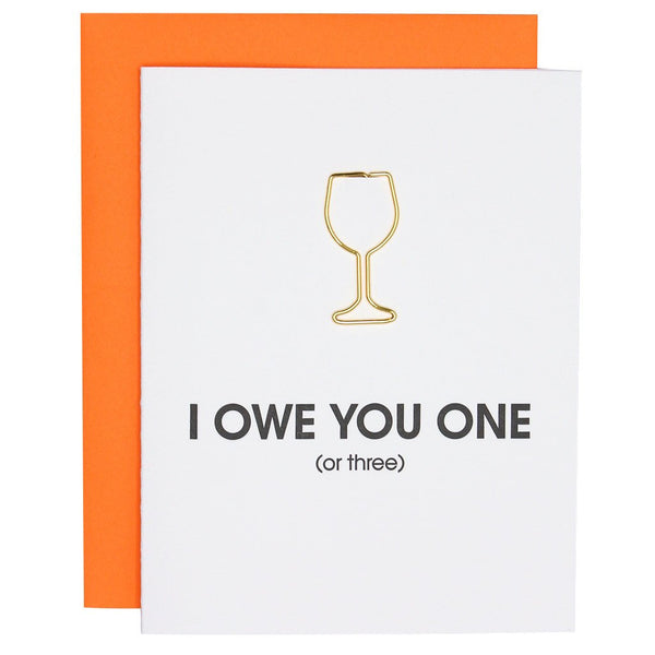 Owe You One Paper Clip Letterpress Card