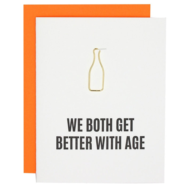 Better With Age Paper Clip Letterpress Card