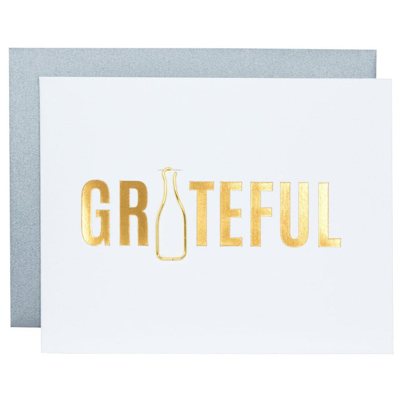 Grateful Paper Clip Letterpress Card