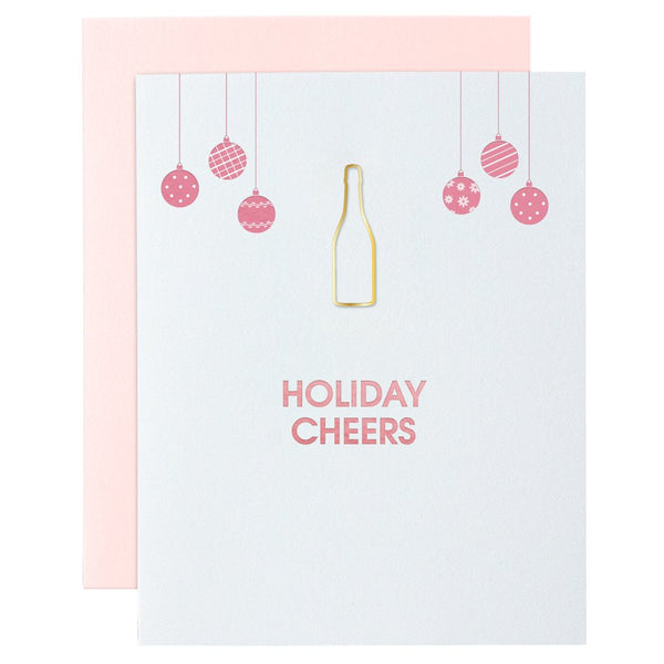 Holiday Cheers Paper Clip Letterpress Card