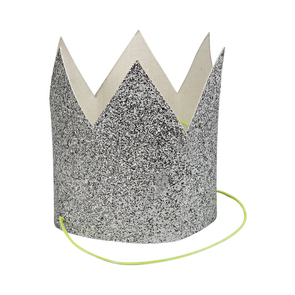 Mini Silver Glitter Crowns