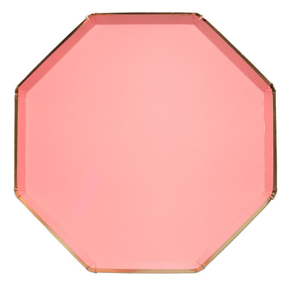 Neon Coral Dinner Plates - Large