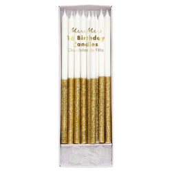 Gold Glitter Dipped Candles