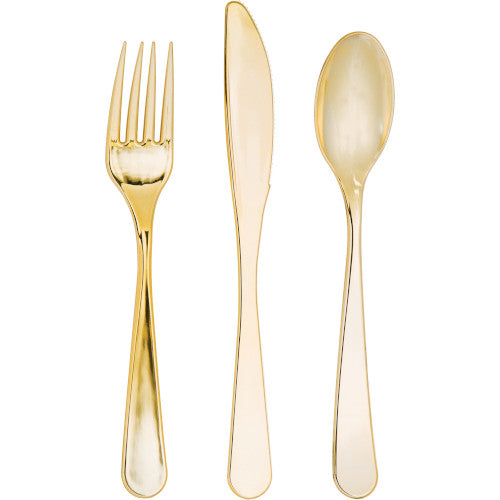 Elise Gold Plastic Cutlery Set