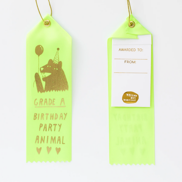 Grade A Birthday Party Animal - Award Ribbon Card