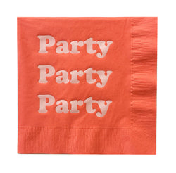 Party Foil Napkins - Tomato and Blush