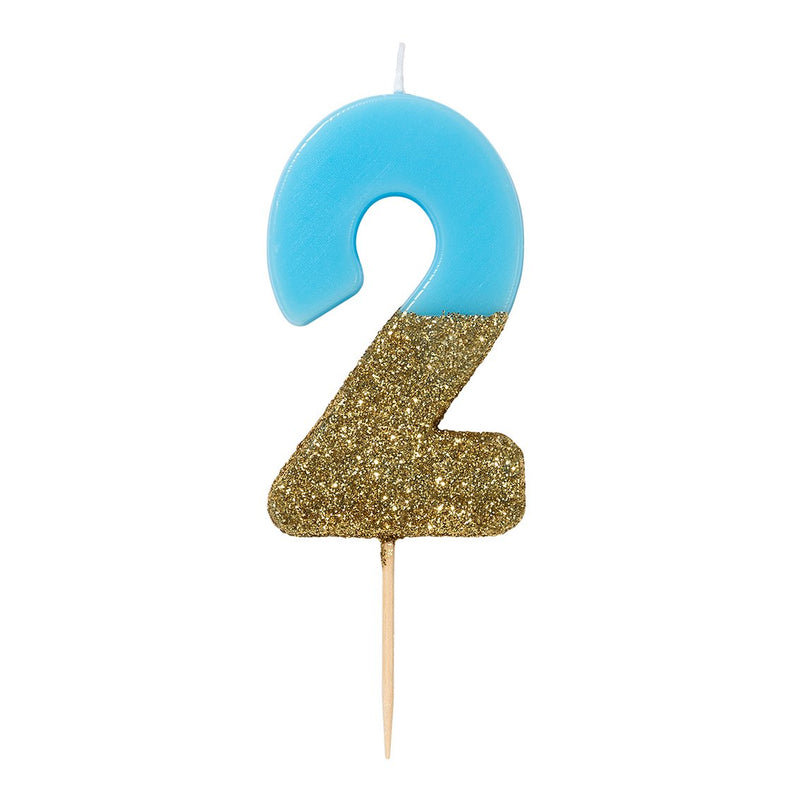 Blue Glitter Number Candles 0-9
