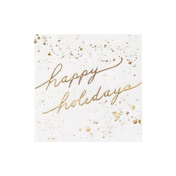 Blanc Holiday - White and Gold Happy Holidays Cocktail Paper Napkins