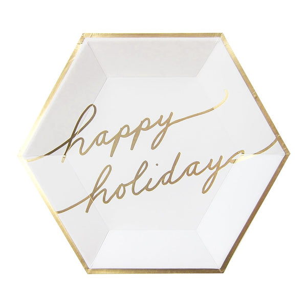 Holidays Blanc - White and Gold Happy Holidays Large Paper Plates