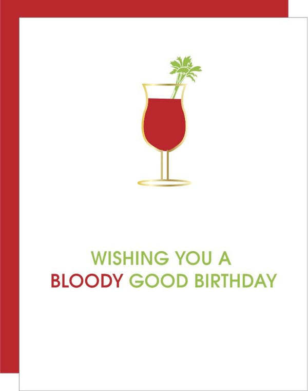 """Bloody Good"" Bloody Mary Birthday Daiquiri Paper Clip Letterpress Card"