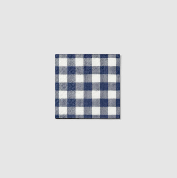Navy Gingham Cocktail Napkins