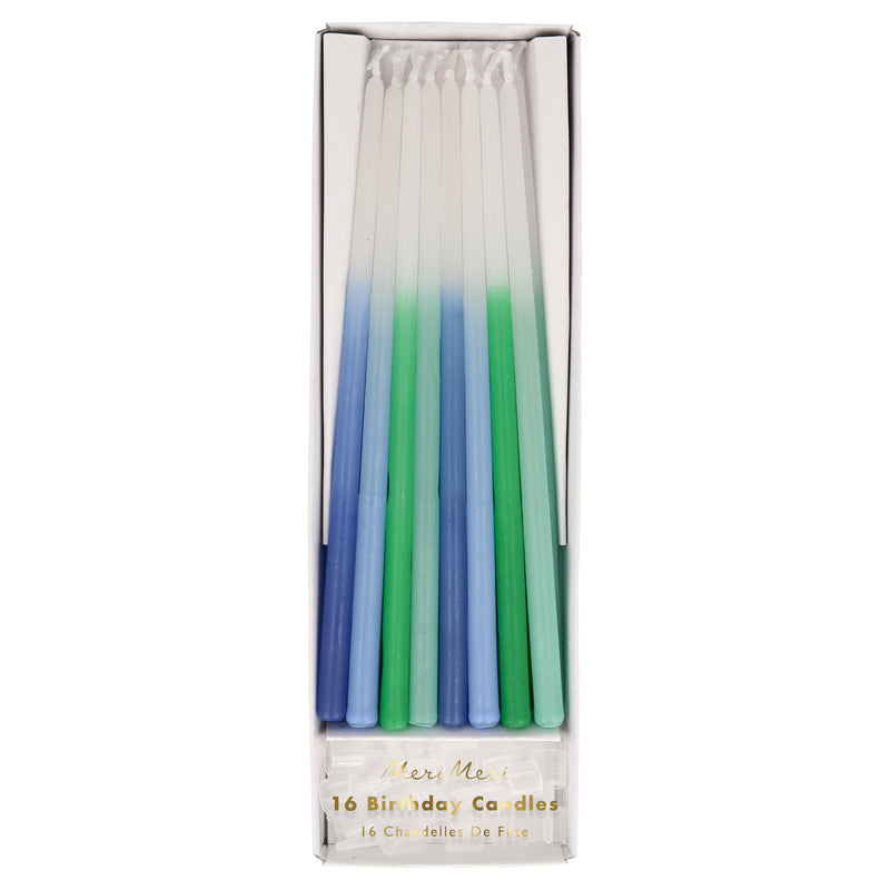 Blue Dipped Tapered Candles