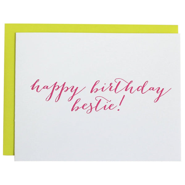 Happy Birthday Bestie Letterpress Card