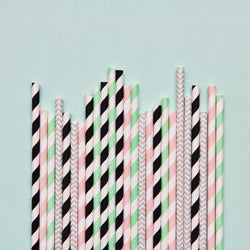 Memphis Pastels Paper Straws - Mixed Pack