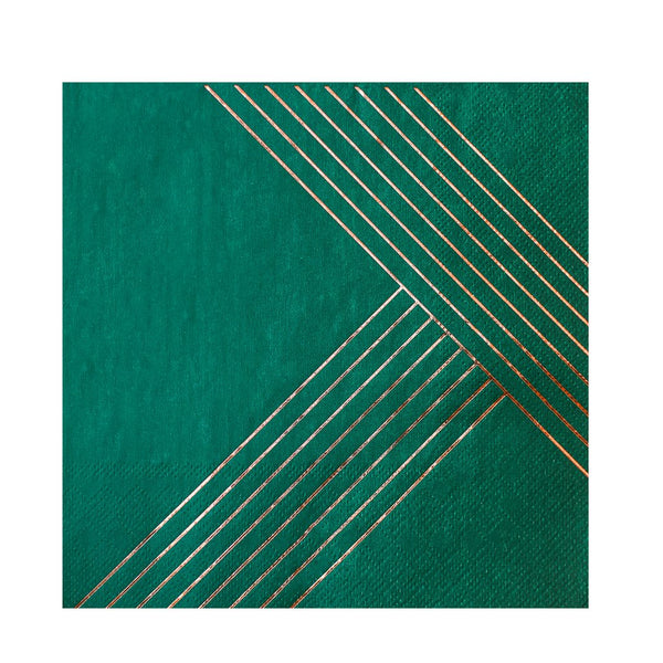 Manhattan - Dark Green Striped Lunch Paper Napkins