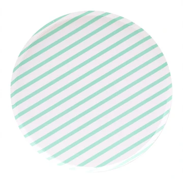 Oh Happy Day Large Plates - Mint Stripes