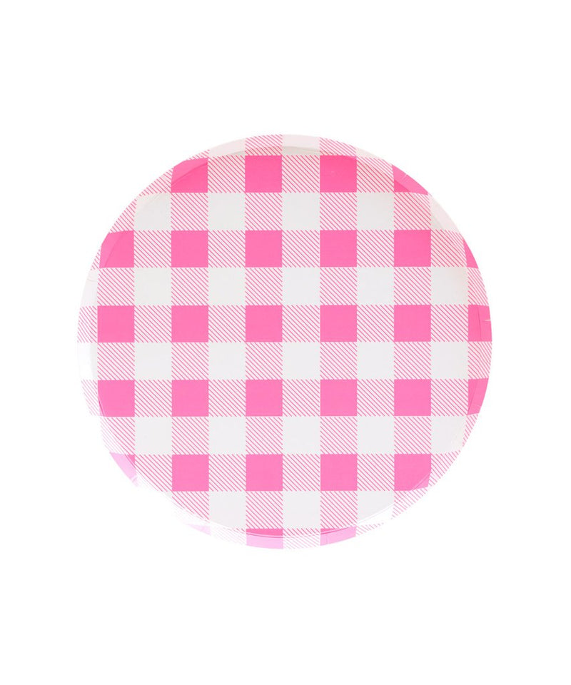 Oh Happy Day Small Plates - Neon Rose Gingham