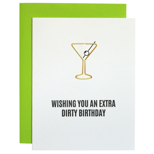 Extra Dirty Martini Birthday Paper Clip Letterpress Card
