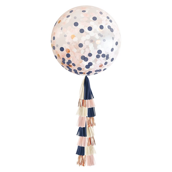 Giant Balloon with Tassels - Navy & Blush Confetti