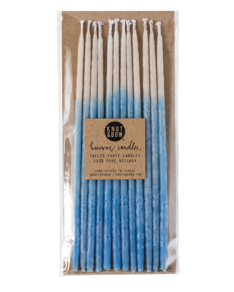 Indigo Ombré Tall Beeswax Party Candles
