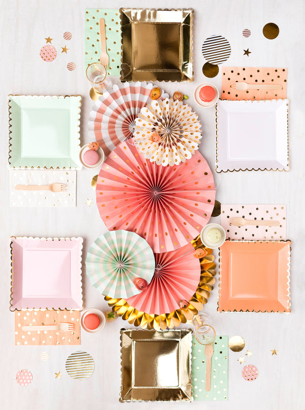 Polka Dot Dinner Napkins - Coral