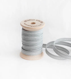 Metallic Line ribbon Wood Spool - Ice/Silver Line