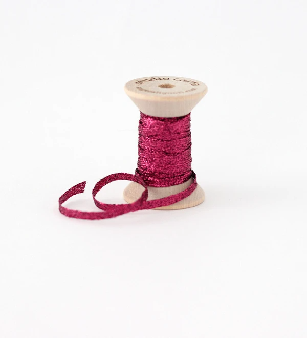 METALLIC BRAIDED RIBBON WOOD SPOOL - Berry
