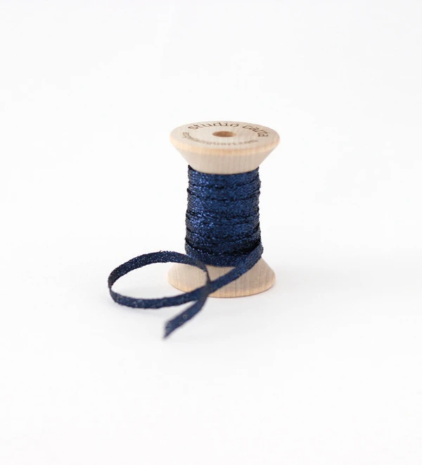 METALLIC BRAIDED RIBBON WOOD SPOOL - starry night blue