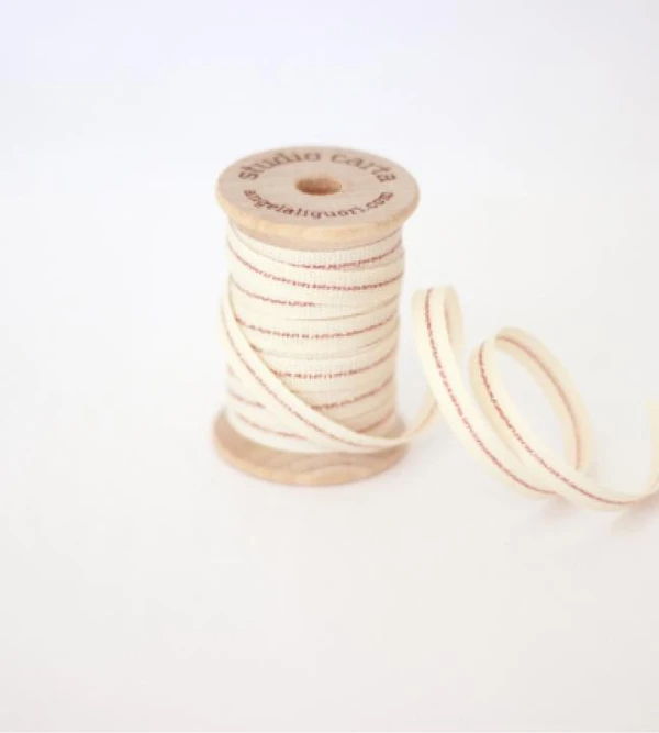 Metallic Line ribbon Wood Spool - Natural/Rose Gold
