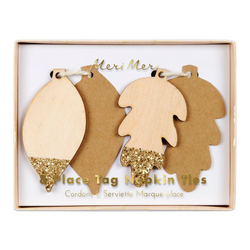 Glittered Leaf Place Tag Napkin Ties
