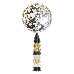 Giant Balloon with Tassels - Black, White, and Gold Confetti