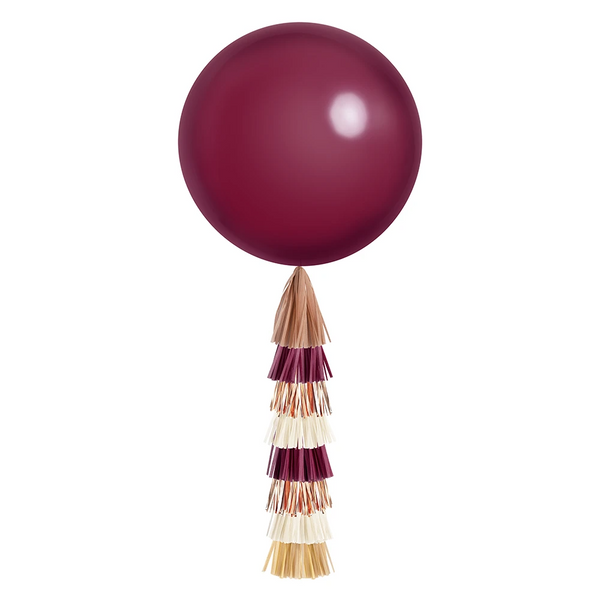 Giant Balloon with Tassels - Burgundy & Rose Gold