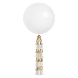 Giant Balloon with Tassels - White & Gold