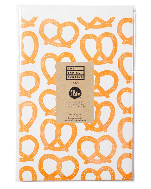Pretzel Newsprint Gift Wrap