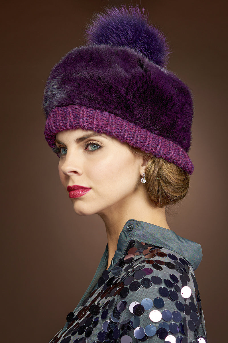 Plum Lenore Marshall Perforated Mink Beanie Hat-Mink Fur Pom Pom