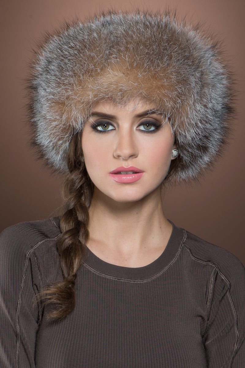Brown Lenore Marshall Sheared Mink and Fox Fur Hat