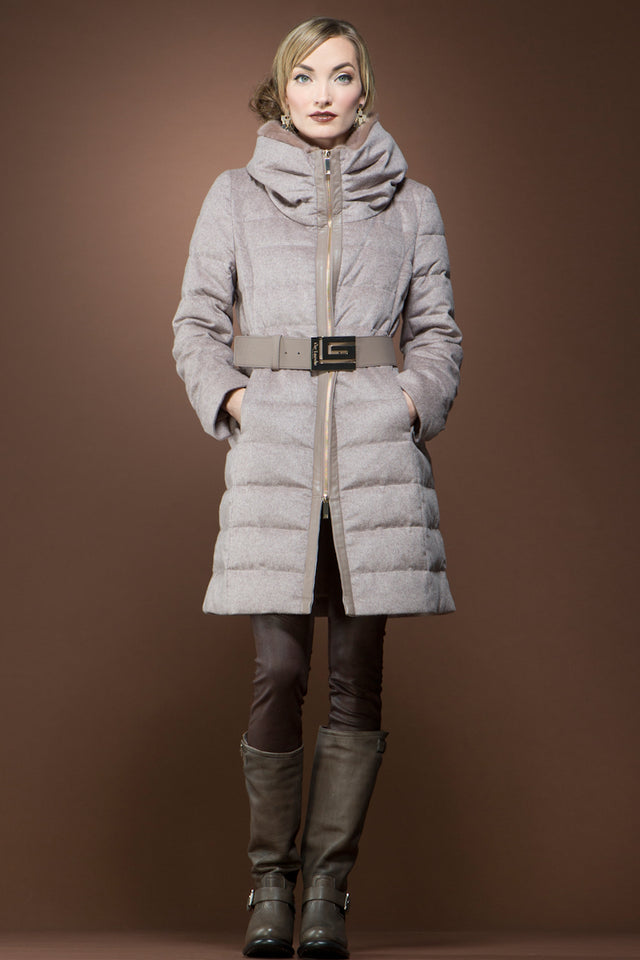 Cinnamon Mink and Down Quilted Mid-Length Cashmere Coat