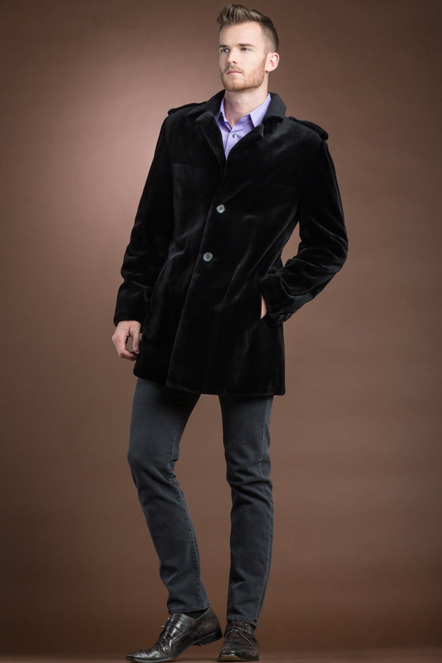 Men's Black Sheared Mink Fur Jacket