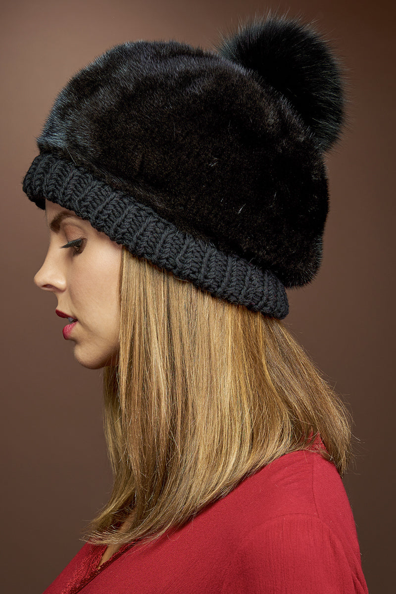 Black Lenore Marshall Perforated Mink Beanie Hat-Mink Fur Pom Pom