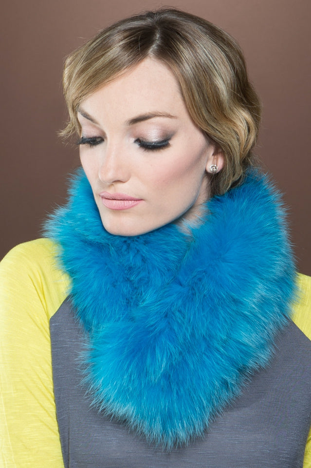 Bold Fox and Rabbit Clip Fur Scarf