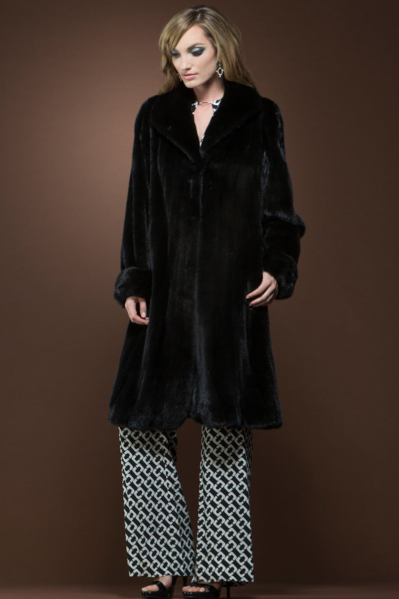 Ranch Mary McFadden Mink Flounce Mid-Length Fur Coat