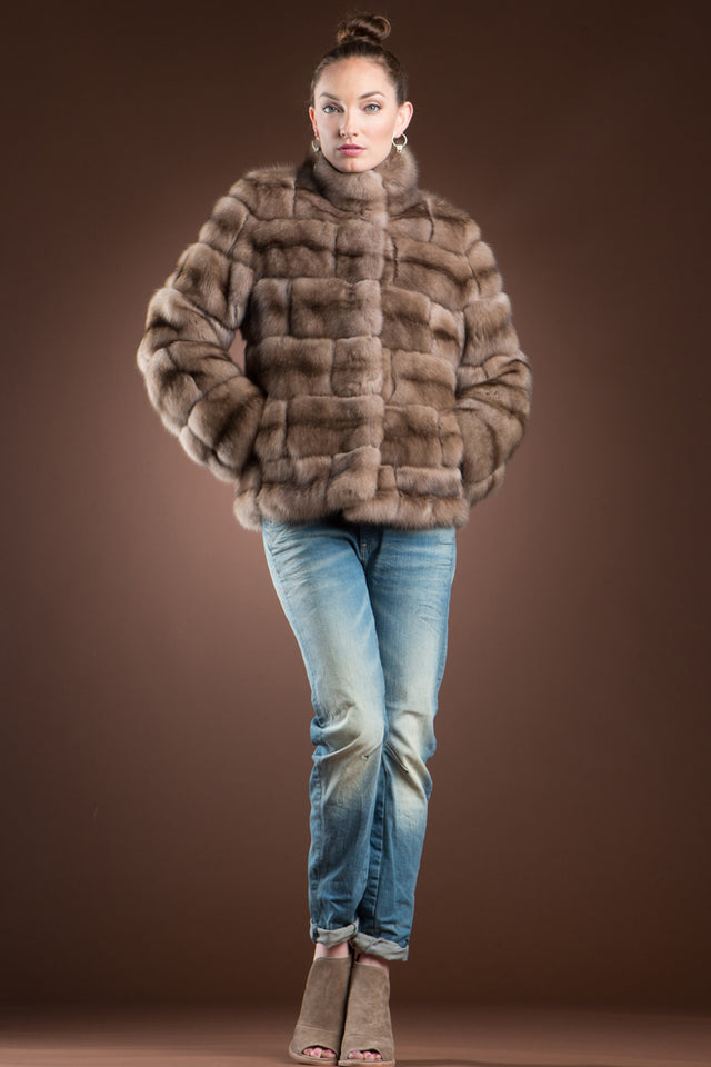 Tortora Russian Sable Brick Fur Jacket