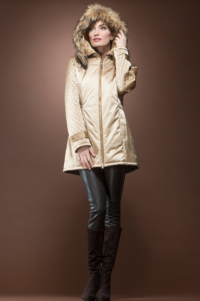 Gold 'Els' Mid-Length Coat with Natural Finn Raccoon Trim